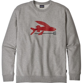 Patagonia M's Flying Fish Midweight Crew Sweatshirt Feather Grey w/Classic Red